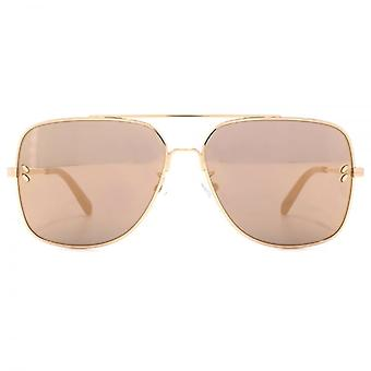 Stella McCartney Vintage Square Aviator Sunglasses In Gold Mirror