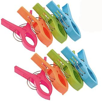 TRIXES Pack of 8 Large Bright Colour Plastic Beach Towel Pegs Clips to Sunbed