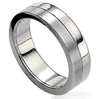 Steel Fashionable Brushed And Polished Ring