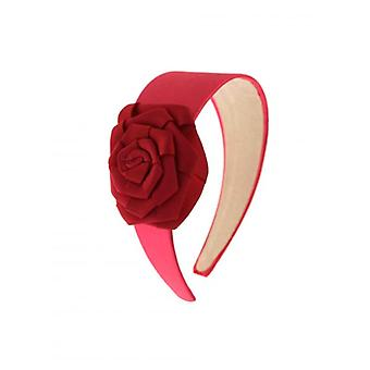 W.A.T Pink Satin Ribbon Rose Flower Hair Band