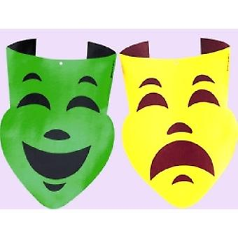 Mardi Gras Comedy & Tragedy Large Cutouts Gold & Green 2 pk