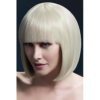White blond haired wig with bobbed hair