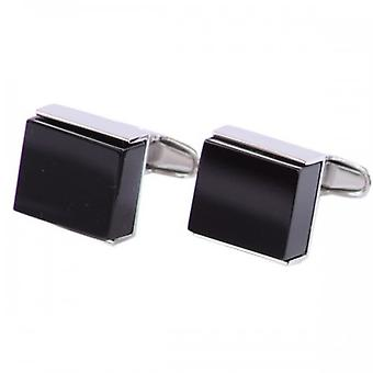 denisonboston Onyx and Steel Luxe Square Cufflinks - Black