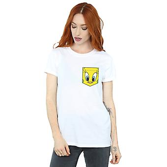 Looney Tunes Women's Tweety Pie Face Faux Pocket Boyfriend Fit T-Shirt