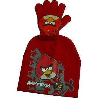 Boys Angry Birds 2 Piece set Winter Beanie Hat & Gloves
