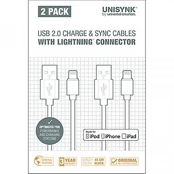 UNISYNK sync cable Lightning 2-pack 45 cm Black MFI