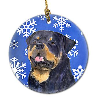 Rottweiler Winter Snowflakes Holiday Christmas Ceramic Ornament SS4662