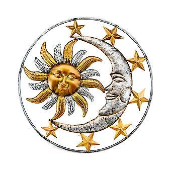 Scultura da parete in metallo interna/esterna celesti sole luna e stelle