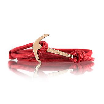 Vikings gold-line anchor strap nylon in red with Golden anchor