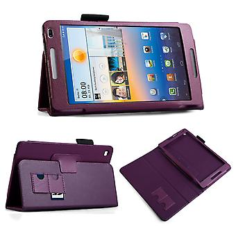 Huawei Mediapad M1 Textured Leather-Effect Stand Case - Purple
