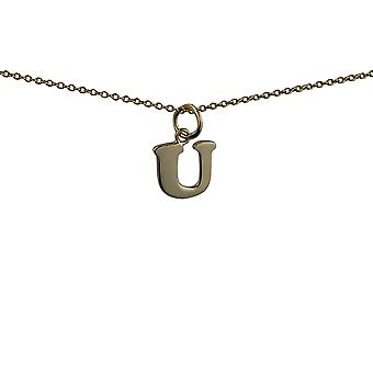 9ct Gold 11x11mm plain Initial U Pendant with a cable Chain 16 inches Only Suitable for Children