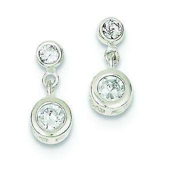 Sterling Silver Bezel Polished Post Earrings Round Cubic Zirconia Earrings