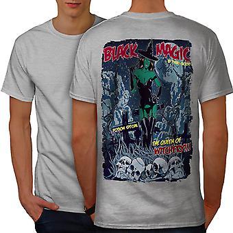 Magic Girl Witch Men GreyT-shirt Back | Wellcoda