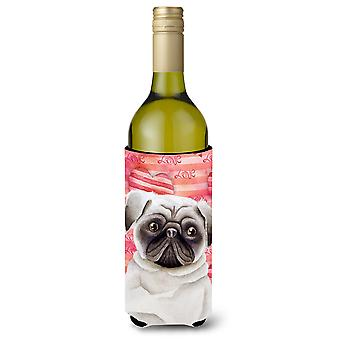 Carolines Treasures  CK1392LITERK Pug Love Wine Bottle Beverge Insulator Hugger