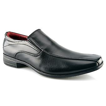 Mens New Office Work Back To School Slip On Twin Gusset Formal Shoes