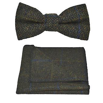 Luxury Juniper Green Herringbone Check Bow Tie & Pocket Square Set, Tweed
