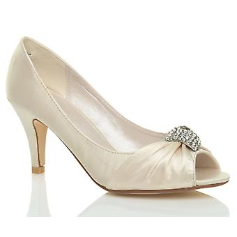 Ajvani womens wedding bridal satin evening low kitten heel peep toe shoes sandals