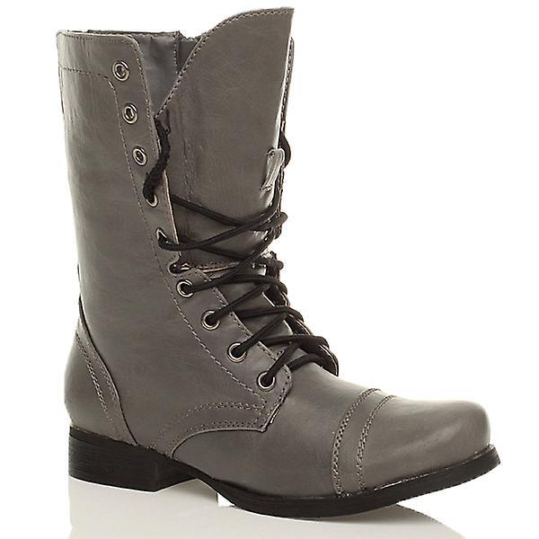 Ajvani womens low heel flat military combat biker army ankle boots