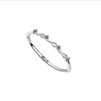 Austrian Crystal Bracelet Bangle With Sky Blue Stones Gift For Her