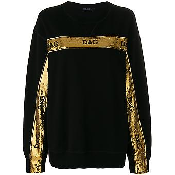 Dolce E Gabbana women's F9B26ZFU7DUN0000 black/gold cotton Sweatshirt