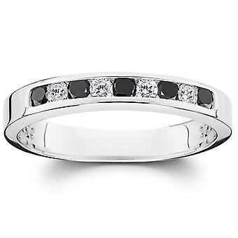 تعيين أسود كت 1/3 آند قناة الماس الأبيض خاتم الذهب الأبيض