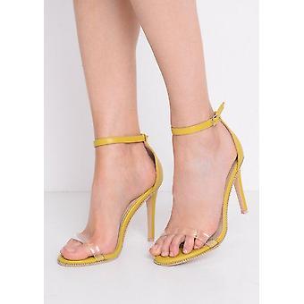 Plexi pasek obcasie żółty sandały sztylet