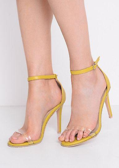 Cinturino in perspex con tacco a spillo sandali giallo