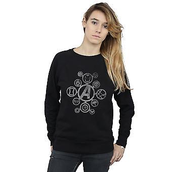 Marvel Women's Avengers Infinity War Distressed Metal Icons Sweatshirt