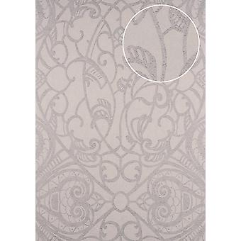 Baroque wallpaper ATLAS CLA-597-7 non-woven wallpaper imprinted with graphic patterns shiny silver m2 beige grey silver-grey perl light grey-5.33