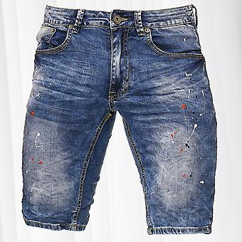 Men's Jeans Shorts Bermuda  Stretch Capri Pants Denim Trousers Summer Paint Dabs