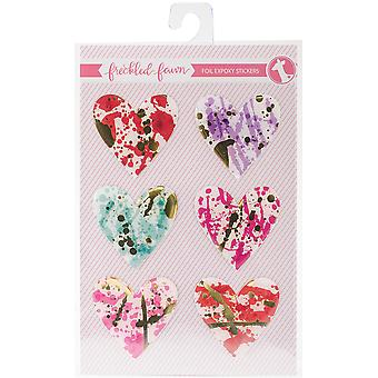 Freckled Fawn Epoxy Stickers-Foiled Hearts