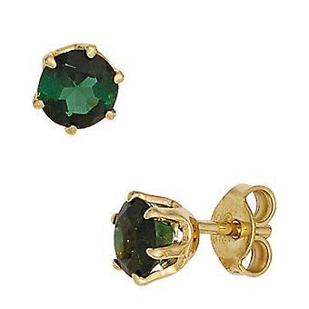 Zgrzewane śruby boutons zielony 585 złota żółtego złota 2 turmalinu kolczyki Biżuteria gemstone złota