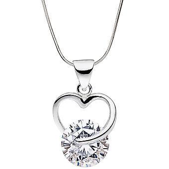 Кулон сердце 925 стерлингового серебра 1 кубический цирконий сердца кулон серебро Кулон