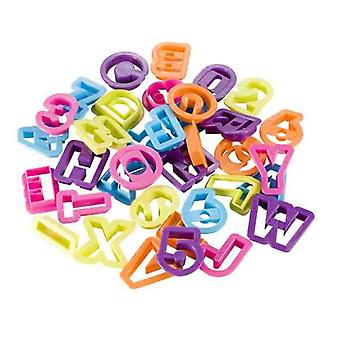 Alphabet and Numbers Cutters 36 Pieces - Various Colours