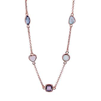 Orphelia Silver 925 Necklace Rose with Multicolored Stones 43 CM