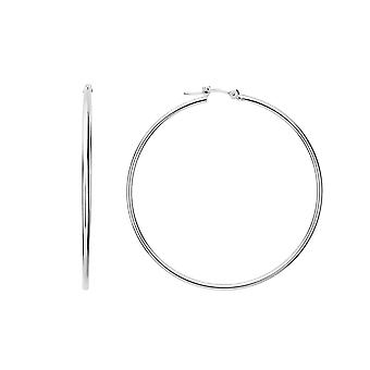 10k White Gold 1.5mm Shiny Round Tube Hoop Earrings
