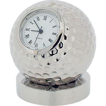 Gift Time Products Golf Ball on Stand Miniature Clock - Silver