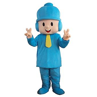 mascot SPOTSOUND boy in blue outfit with a hat