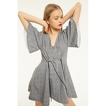 CMEO Check Button Up Dress With Drawstring