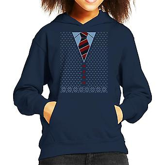 Christmas Cardigan And Tie Kid's Hooded Sweatshirt