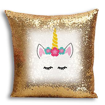 i-Tronixs - Unicorn Printed Design Gold Sequin Cushion / Pillow Cover with Inserted Pillow for Home Decor - 0