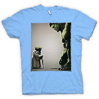 Mens T-shirt - Yoda V Incredible Hulk - Super Hero