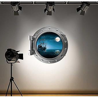 Full Colour Pirate Ship Porthole Wall Sticker