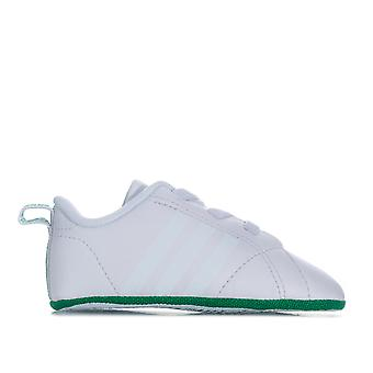 Baby adidas Vs Advantage Crib Shoes In White Green- Elasticated Laces- Soft