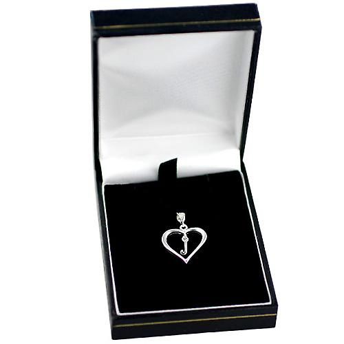 Silver heart Pendant with a hanging Initial J