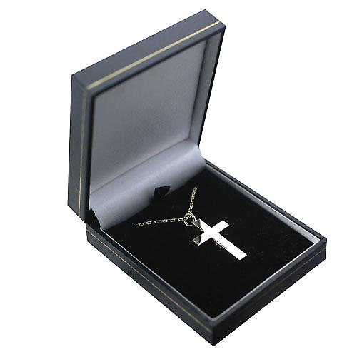 9ct Gold 30x20mm plain solid block Cross with a belcher Chain 16 inches Only Suitable for Children