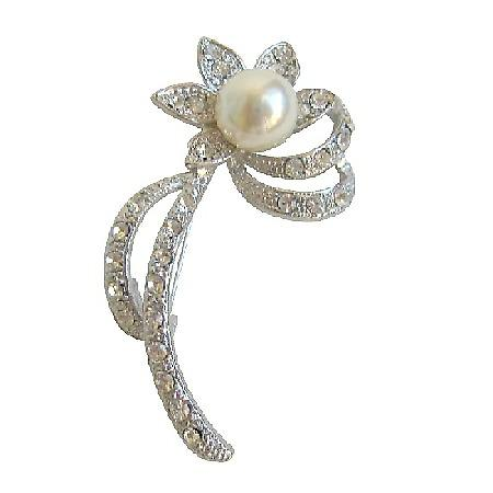 Silver Casting Pearl Sunflower Brooch with Clear Simulated Diamonds
