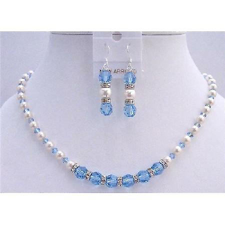 Blue Jay Bridal Jewelry AB Aquamarine Crystals White Pearls Rondells