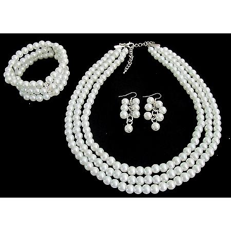 Wedding Bridal Jewelry Set Gift 3 Strand White Pearl Necklace Earrings Bracelet Jewelry