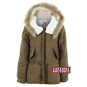 Ladies Long Sleeve Hooded Parker Like-Sheep Skin Soft Womens Luxurious Jacket